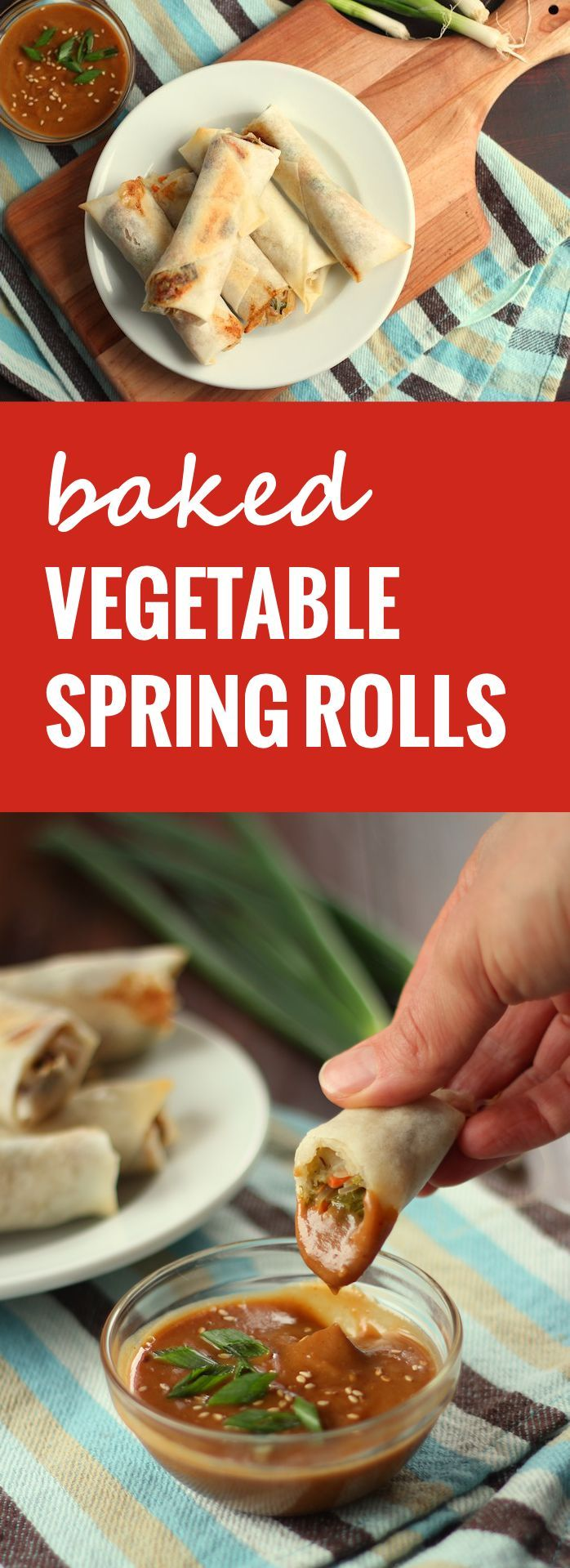 These baked vegetable spring rolls are stuffed with a mixture of rice noodles and savory stir-fried veggies.
