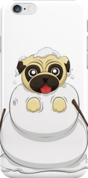 Snowman Pug iPhone Cases & Skins by AnMGoug on Redbubble. #iPhone #pug #snowman