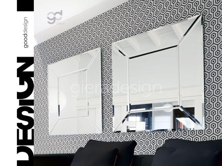 Duże lustro kryształowe dekoracyjne do salonu przedpokoju jadalni korytarza kwadratowe prostokątne fazowane Opti White