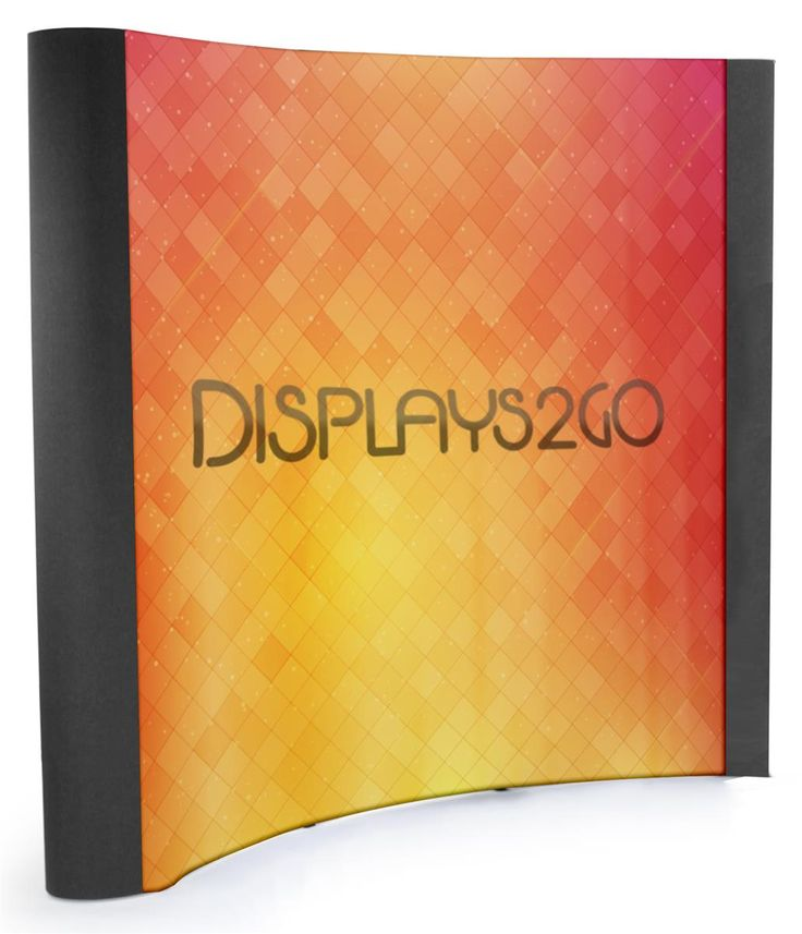 8' Trade Show Banner Backdrop with Custom Graphics, Curved End Caps - Black