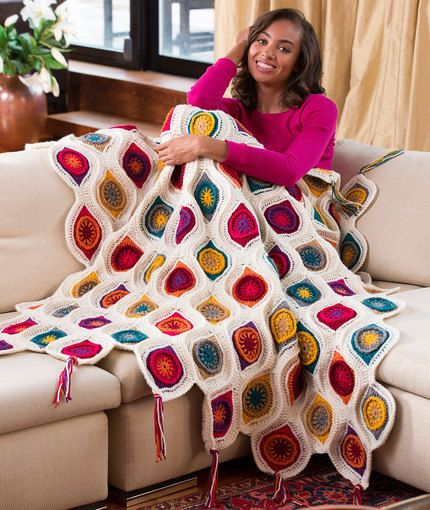 Graphic Fall Throw Free Crochet Pattern in Red Heart Yarns