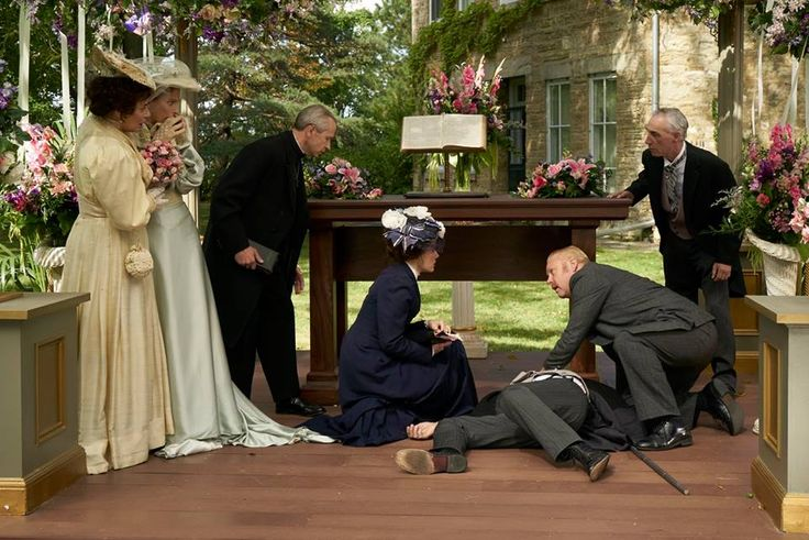 Judith Baxter (Mimi Kuzyk), Elizabeth Cummersworth (Leslie Hope) and the Minister (Ian Matheson) are in shock as Margaret (Arwen Humphreys) and Brackenreid (Thomas Craig) check on Oliver (Dennis Cutts) after his electrocution.
