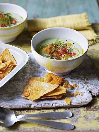 Chilled avocado soup with tortilla chips | Jamie Oliver
