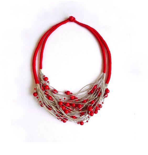 Linen necklace linen jewelry natural linen bib by Feltpoint: