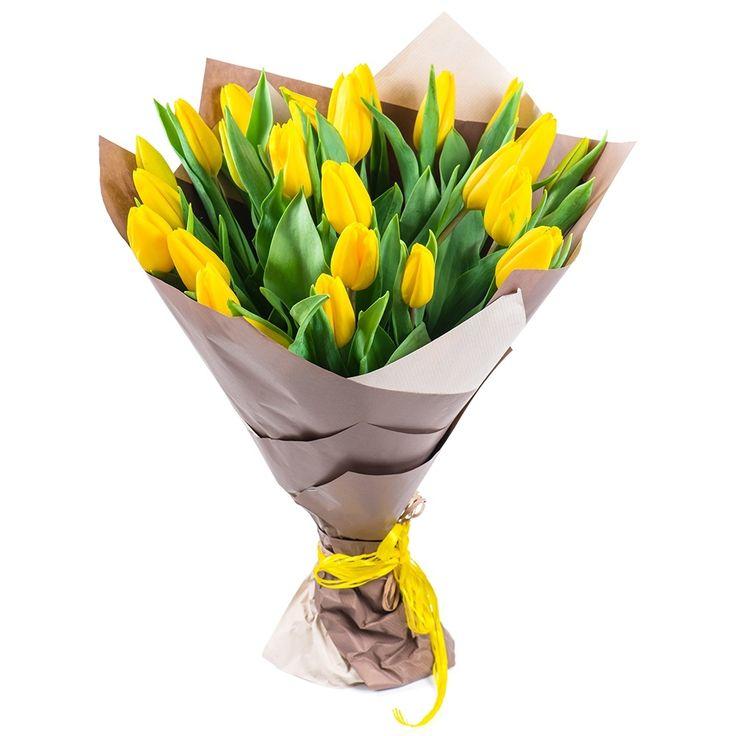 Тюльпаны желтые 31 шт. Букет Голландских тюльпанов.