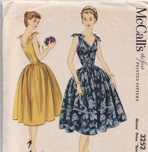 1950's Tie Shoulder Sun Dress Vintage Sewing Pattern