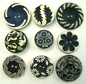 9-Vintage-Blue-White-Buffed-Celluloid-Buttons