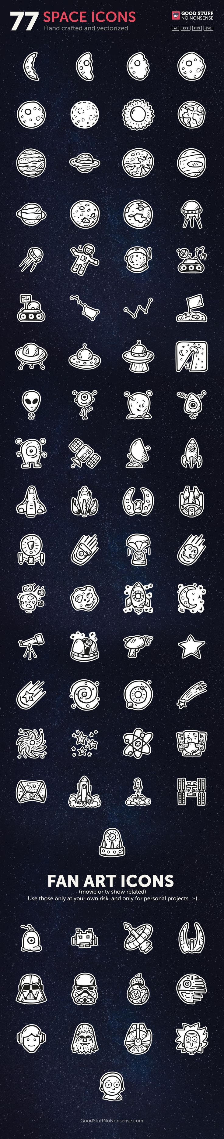 FREE Space Icons vector made by @GoodStuffNoNonsense #icons #handrawn #icondesign