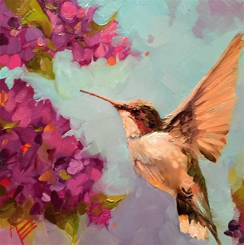 "Daily Paintworks - ""Hummingbird Flutter"" - Original Fine Art for Sale - © Krista Eaton"