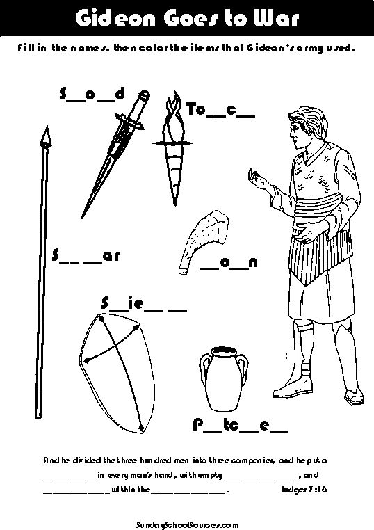 Worksheet showing the items Gideon 39 s