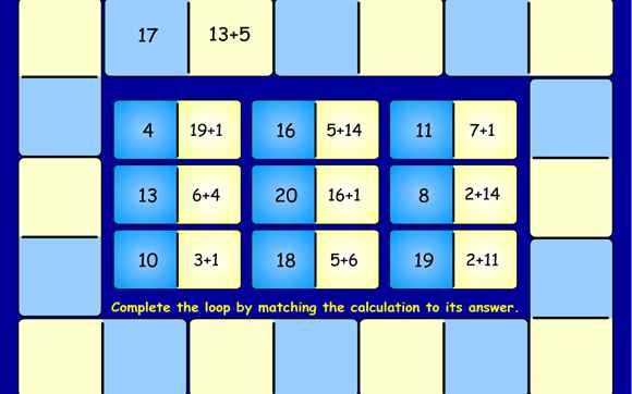 Loop Cards - 5-11 year olds - Topmarks - add, subtract, multiply, divide - interactive