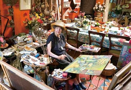 Margaret Olley in her wonderful workspace
