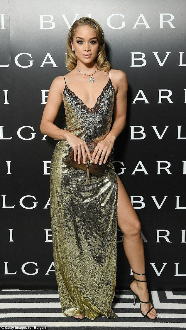 Glitzy: Jasmine Sanders oozed glamour at the Bulgari dinner party during Milan's Fashion Week on Friday