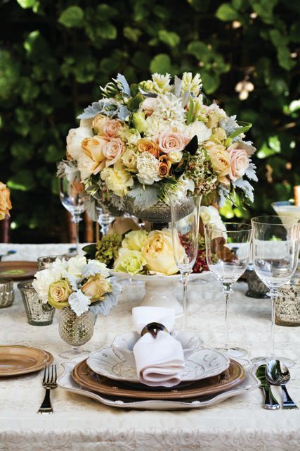 Beige and peach centerpiece
