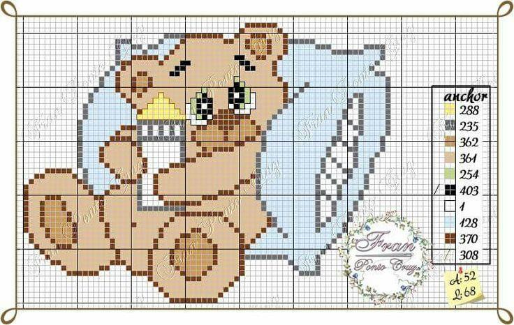 Urso bebê ponto cruz