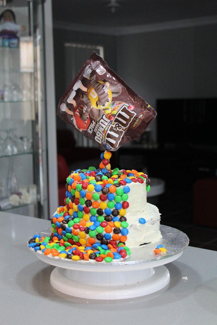 gravity m&m cake