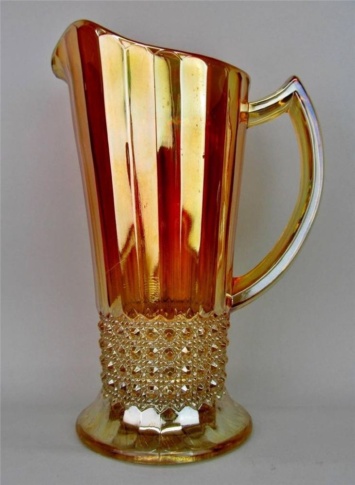 "FLUTE & CANE by IMPERIAL ~ DARK GOLDEN MARIGOLD CARNIVAL GLASS 8-1/2"" PITCHER #Imperial"
