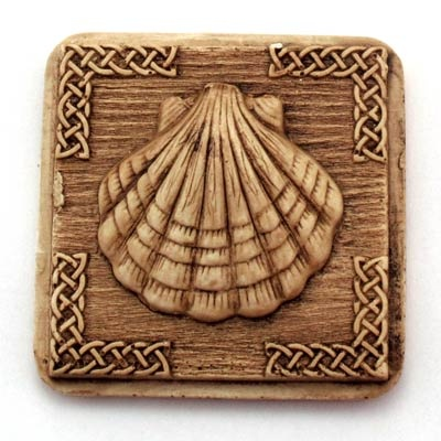 Shell magnet. Handmade with reconstituted stone finish wood effect. Artcraft of The Way of St.James. Tax free $2.90