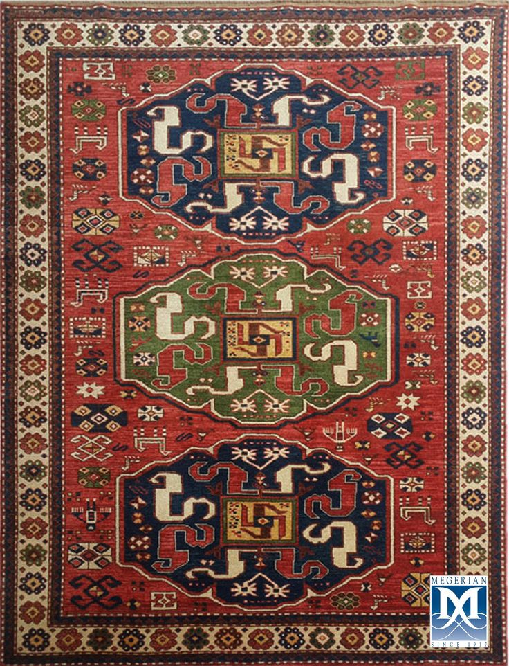 Armenian  Khndzoresk-dragon  rug  by  Megerian  Carpet  Company, handmade, wool, antique design.