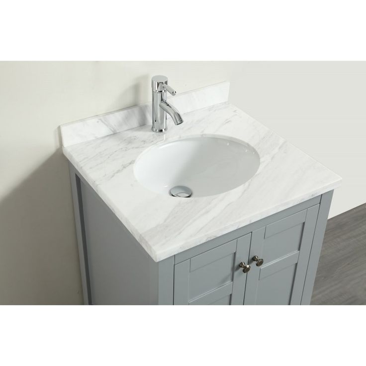 17 Best images about Eviva Lime 24? Bathroom Vanity Chilled Grey with White Marble Carrera Top ...