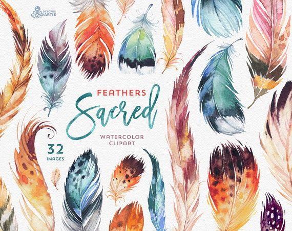 Sacred Feathers. Watercolour Clipart. Tribal, gypsy, diy, quote, boho style, spirit, american native, indians, cards, wallart, handpainted