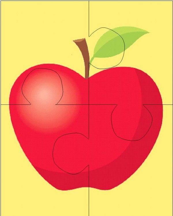 Gabarit - Puzzle 4 pièces Pomme rouge