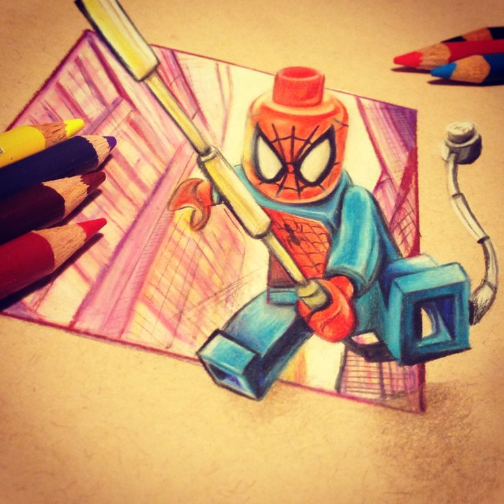 LEGO SpiderMan 3D drawing in coloured pencils Lego in