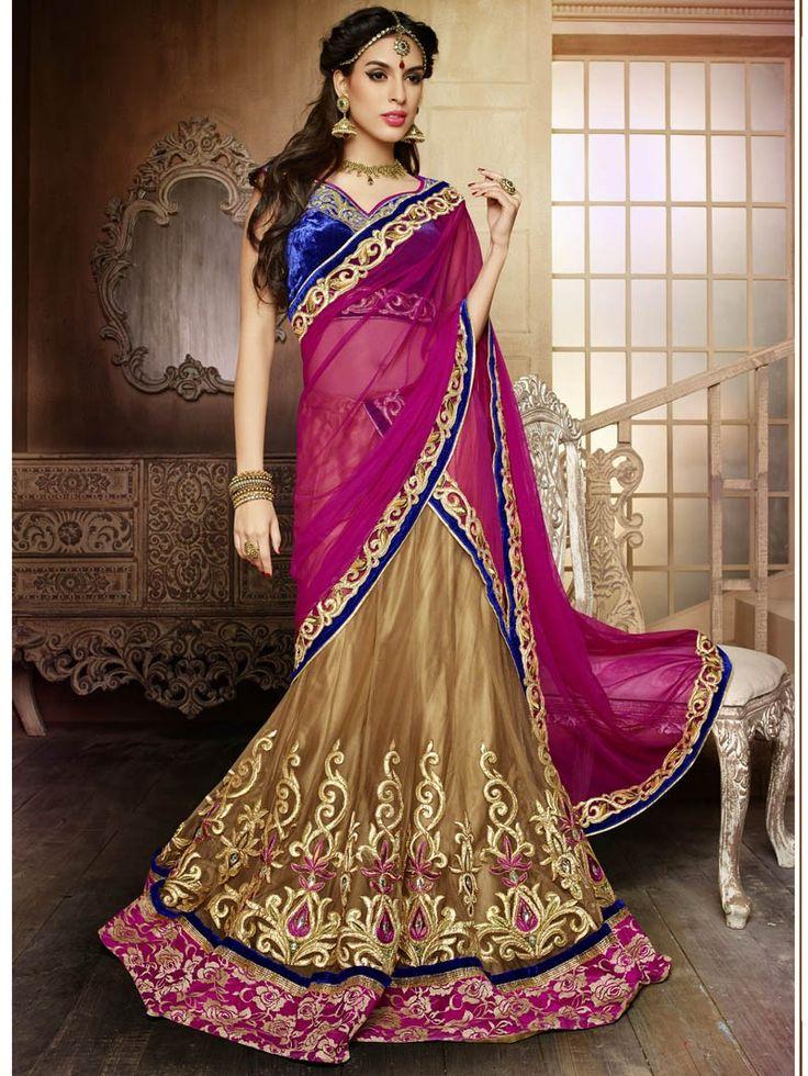 Beige with Pink Heavy Wedding Wear Embroidery Lehenga