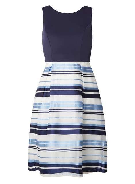 Navy And Ivory Stripe Prom Dress