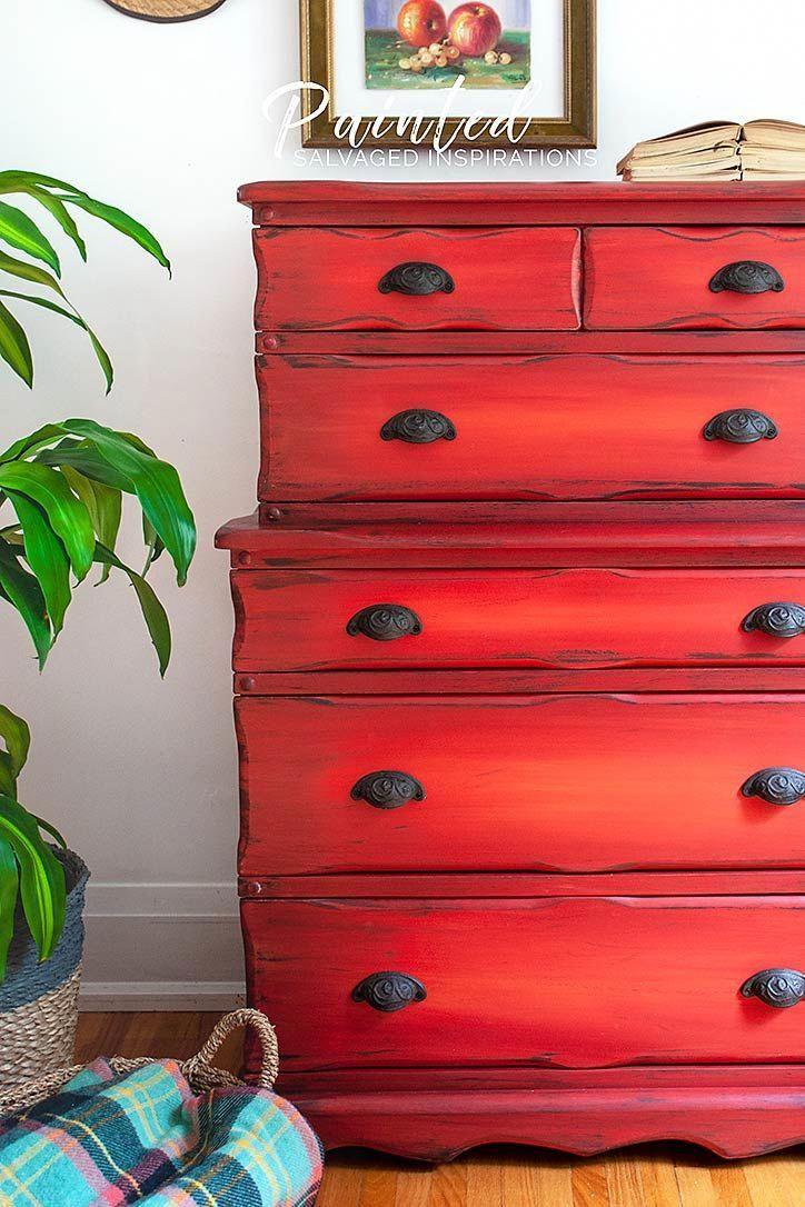 Thrift Store Red Painted Dresser Makeover | Salvaged Inspirations #dixiebellepaint #blending #diy #paintedfurniture