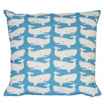 White whales on turquoise - a favorite nautical combination.