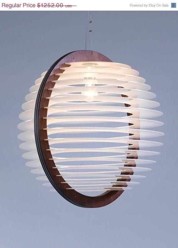 ON SALE 25% A Large Livingroom Lighting , Pendant Lighting , Pendant Lamp , Light Fixture , Wood and Perspex Pendant Light , Home Decor