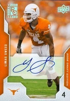 Limas Sweed Autographed/Hand Signed Football Card (Texas) 2008 Upper Deck Rookie #64 by Hall of Fame Memorabilia. $38.95. Limas Sweed autographed Football Card (Texas) 2008 Upper Deck Rookie #64. Signed items come fully certified with Certificate of Authenticity and tamper-evident hologram.
