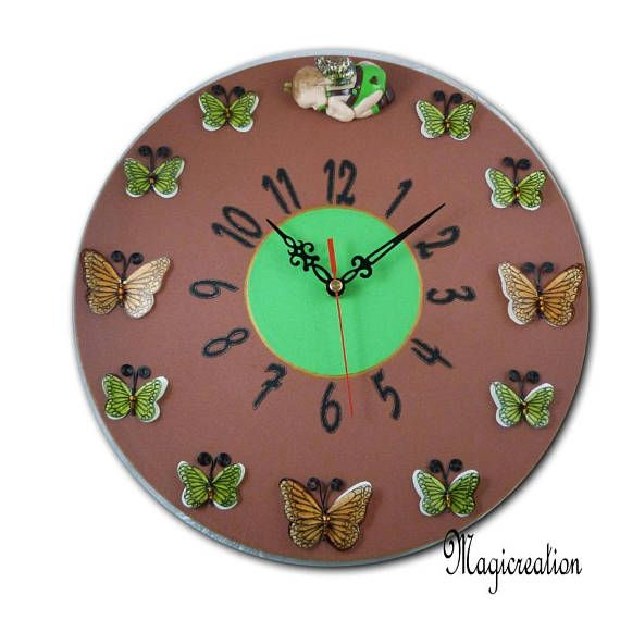 Latest horloge murale silencieuse ule rve du bb papillon for Horloge murale design silencieuse