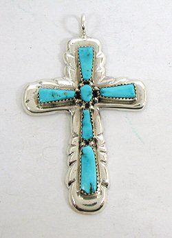 Native American Zuni Sterling Silver Turquoise Cross Pendant