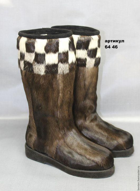 Обувь ручной работы. Ярмарка Мастеров - ручная работа. Купить Унты мужские из камуса оленя. Handmade. Коричневый, войлок, тепло