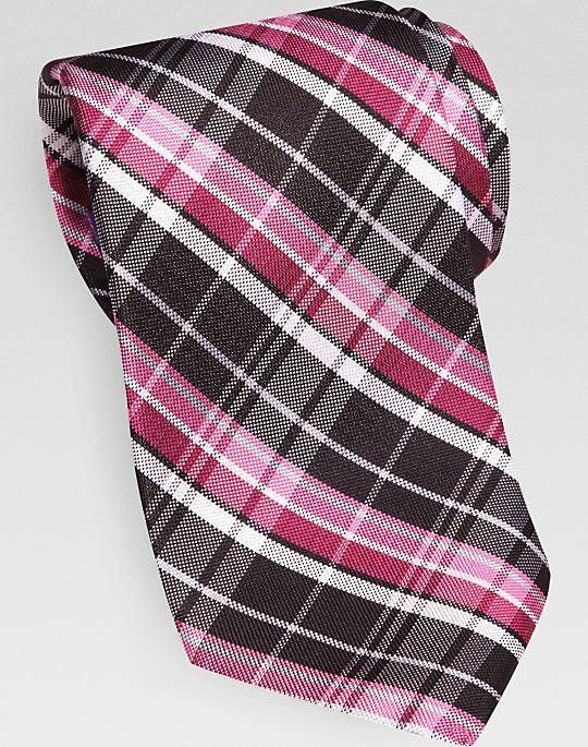 hey, great way to show support for women's breast cancer in October . Burma Bibas Fuchsia Plaid Narrow Extra Long Tie