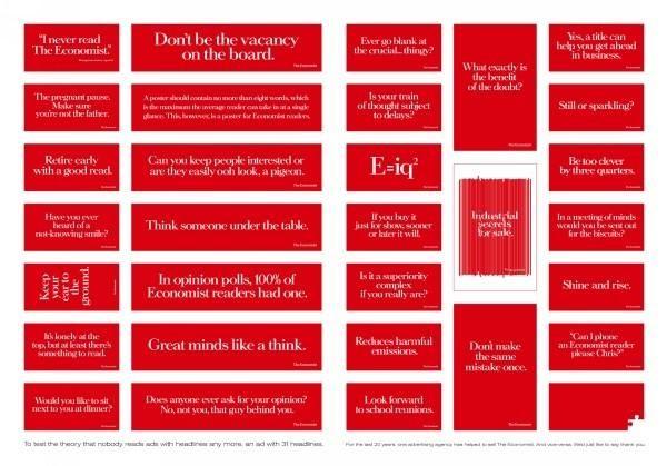 31 HEADLINES, The Economist Magazine, AMV BBDO UK, The Economist, Print,