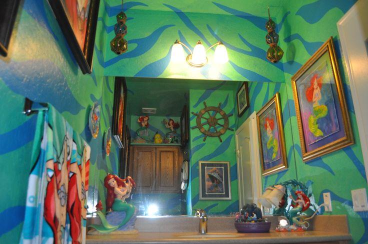 Disney Little Mermaid Bathroom; decorating; Ariel; Flounder; Sebastian www.mydisneylove.com