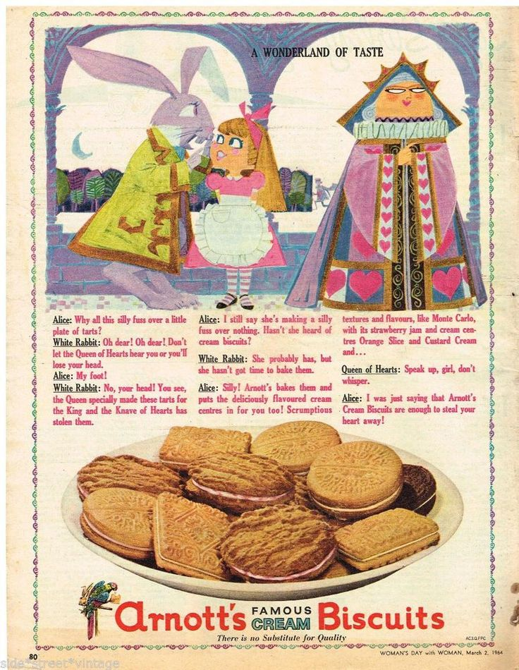 ARNOTT'S AD RETRO ALICE WONDERLAND AUSTRALIAN Vintage Advertising 1964 Original
