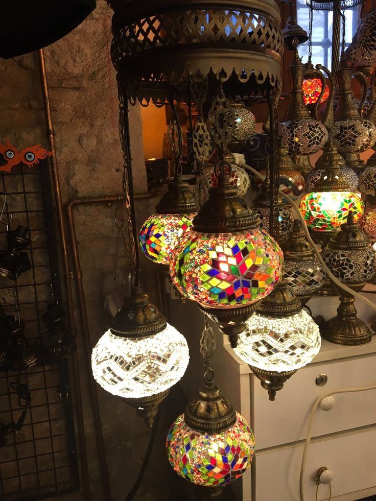 TURKISH MOSAIC CHANDELIER, 5 LAMPS