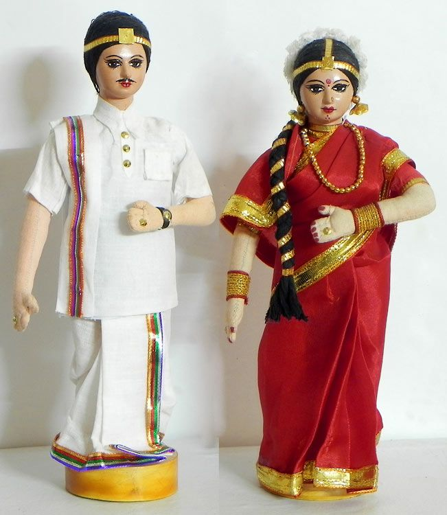 Bridal Couple from Andhra Pradesh, India - Costume Cloth Dolls