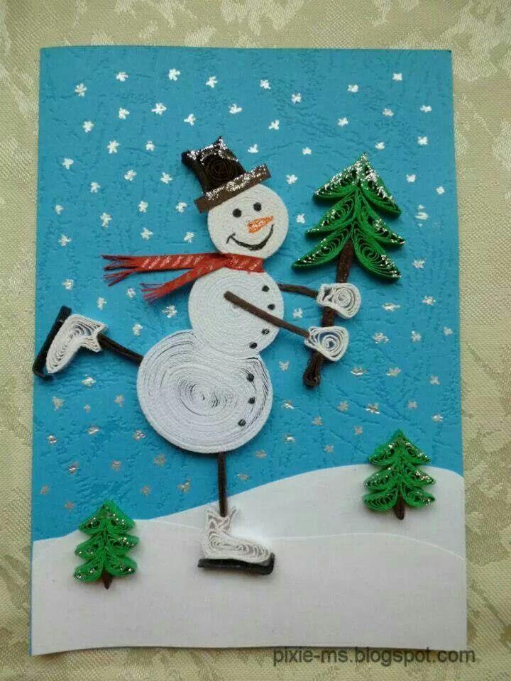 Boneco De Neve De Quilling Quilling Quilling Christmas