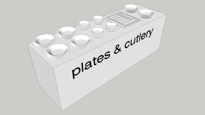 Large preview of 3D Model of Plates & cutlery counter