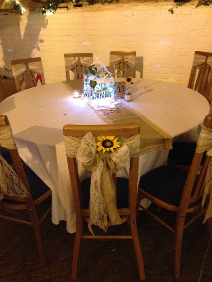 Hessian and lace Sashes with flower