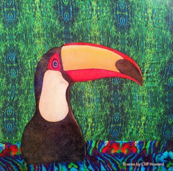 Toucan - mixed media Artist: Howard, Cliff Artwork title: Toucan and silk