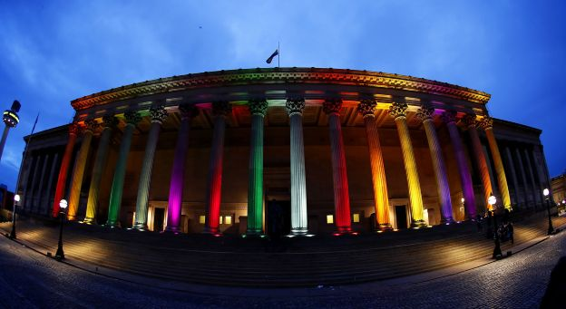 Pillars of St Georges Hall, Liverpool, have the colours of of a rainbow flag projected onto them fol... - Peter Byrne/Press Association Wire