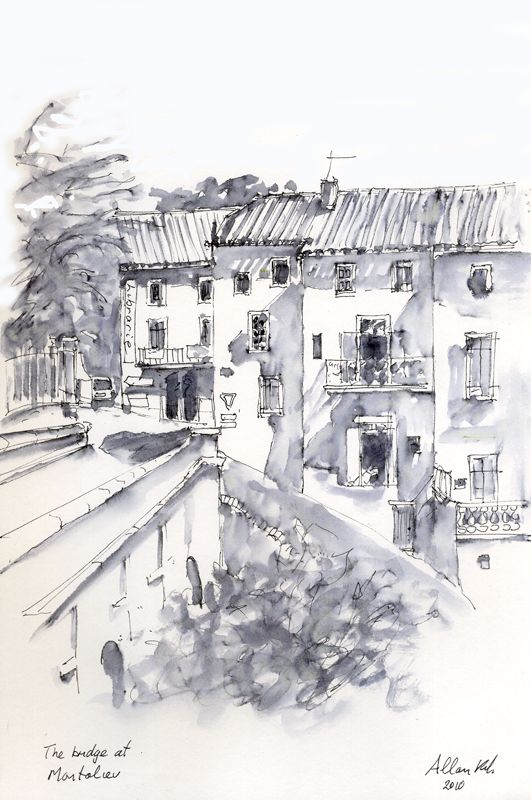 Bridge at Montolieu by Allan Kirk Faber-Castell PItt artist pen. Pen and watercolor wash. Do wash first and wait for it to dry before applying pen. Love it!