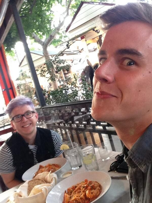 Tyler Oakley and Connor Franta. Can we just take a moment to appreciate how Tyler has a completely normal face, and Connor looks like friggin chocolate just passed by him