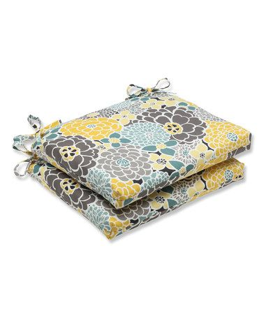 Loving this Gray & Yellow Outdoor Seat Cushion - Set of Two on #zulily! #zulilyfinds